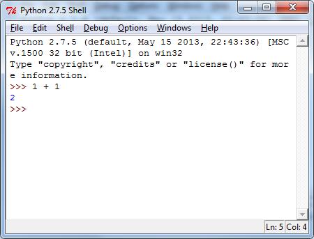 Python Shell 1 + 1