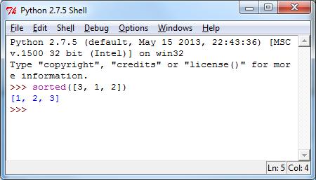 Python Shell Sorted