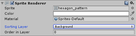 Hexagon Pattern SpriteRenderer with Background Sorting Layer