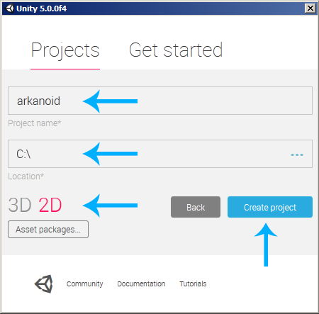 Unity Create new 2D Project