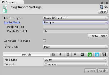 Frog Import Settings