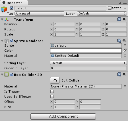 Default Element with Collider
