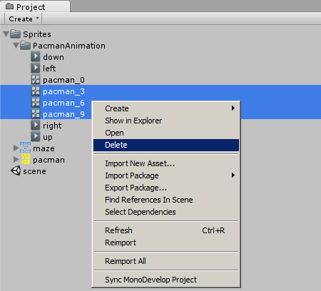 Delete Pac-Man Animation in Project Area