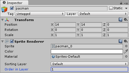 Pac-Man SpriteRenderer Order in Layer