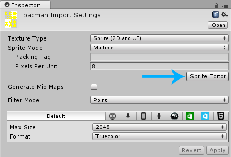 Pac-Man Sprite Editor Button