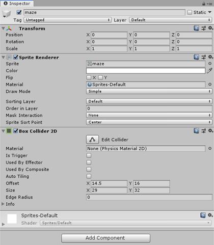 Maze BoxCollider2D in Inspector