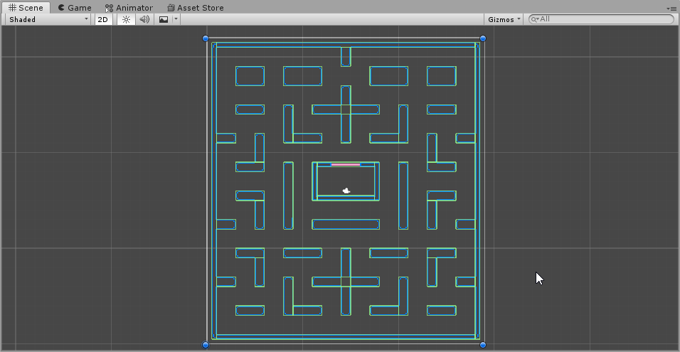 Maze with all Colliders in Scene