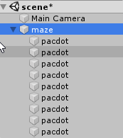 Pac-Dots in Maze GameObject