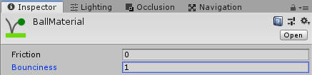 Ball Material in Inspector
