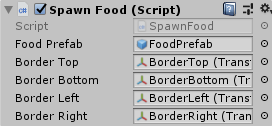 Spawn Food Script in Inspector with Slots filled