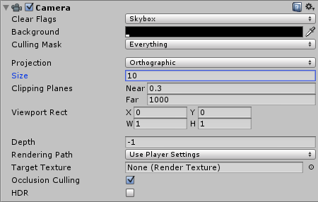 Unity Camera Properties