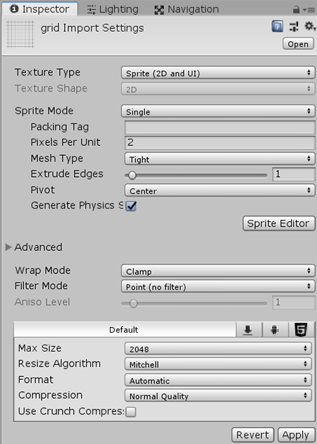 Grid Import Settings