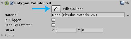 blue level edit Collider button