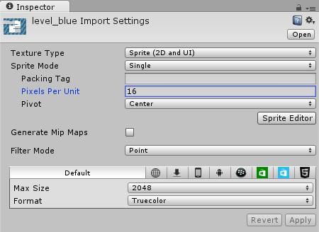 blue level Import Settings