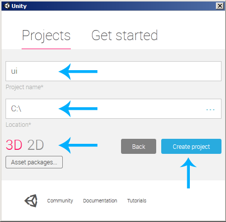 Unity Create new 3D Project